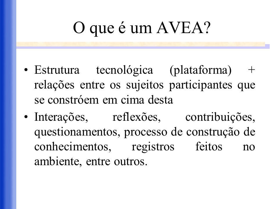 O que é um AVEA Estrutura tecnológica (plataforma) + relações entre os sujeitos participantes que se constróem em cima desta.