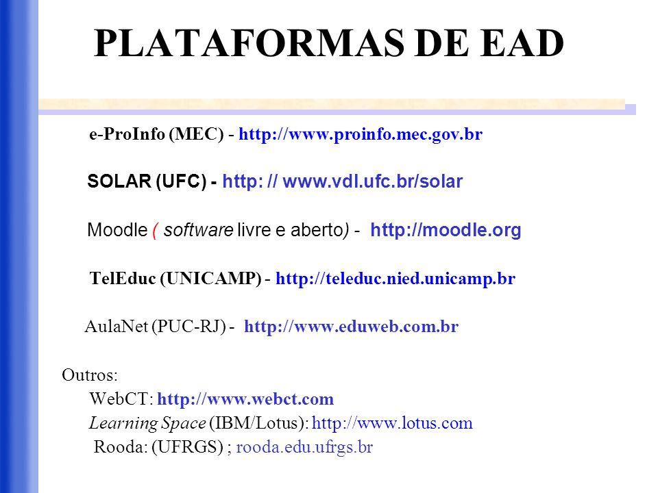 PLATAFORMAS DE EAD e-ProInfo (MEC) - http://www.proinfo.mec.gov.br