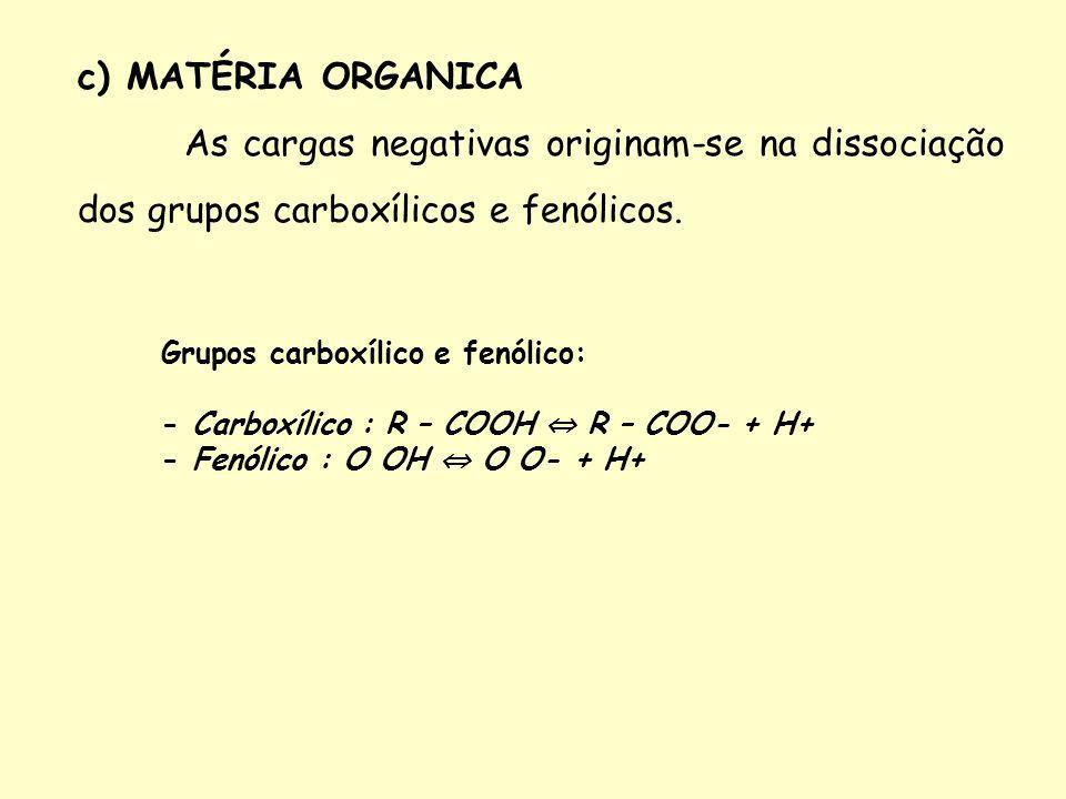 c) MATÉRIA ORGANICA As cargas negativas originam-se na dissociação dos grupos carboxílicos e fenólicos.