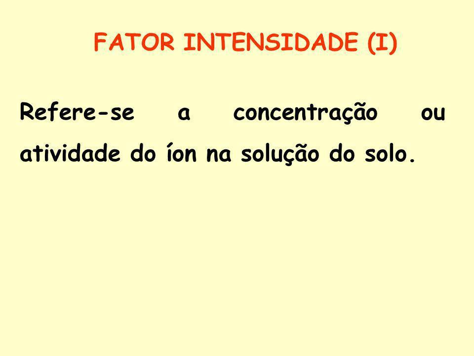 FATOR INTENSIDADE (I) Refere-se a concentração ou atividade do íon na solução do solo.