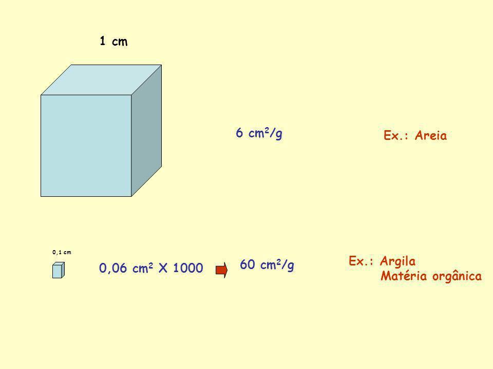 1 cm 6 cm2/g Ex.: Areia Ex.: Argila Matéria orgânica 60 cm2/g