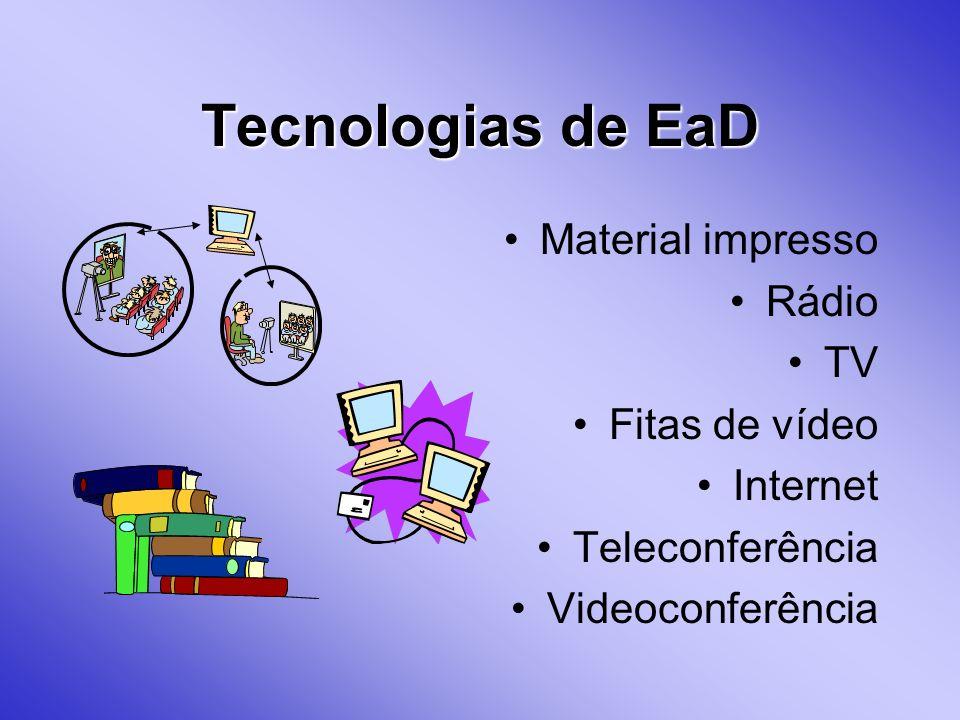 Tecnologias de EaD Material impresso Rádio TV Fitas de vídeo Internet