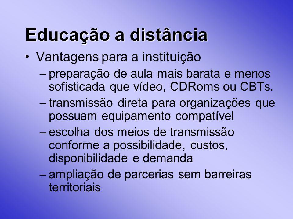Educação a distância Vantagens para a instituição