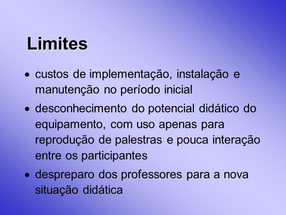 Limites custos de implementação, instalação e manutenção no período inicial.