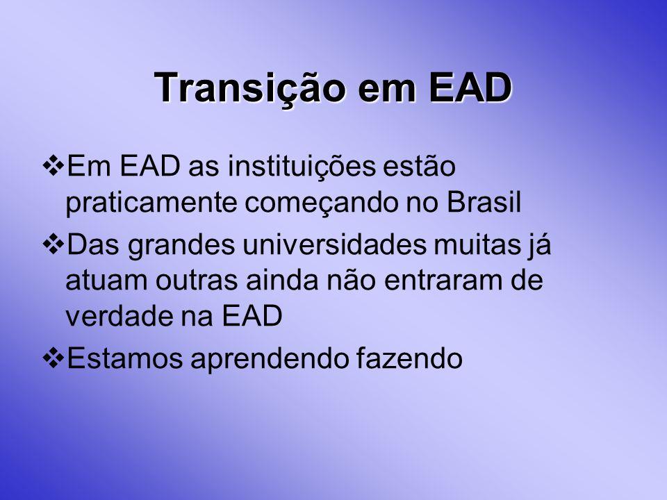 Transição em EAD Em EAD as instituições estão praticamente começando no Brasil.