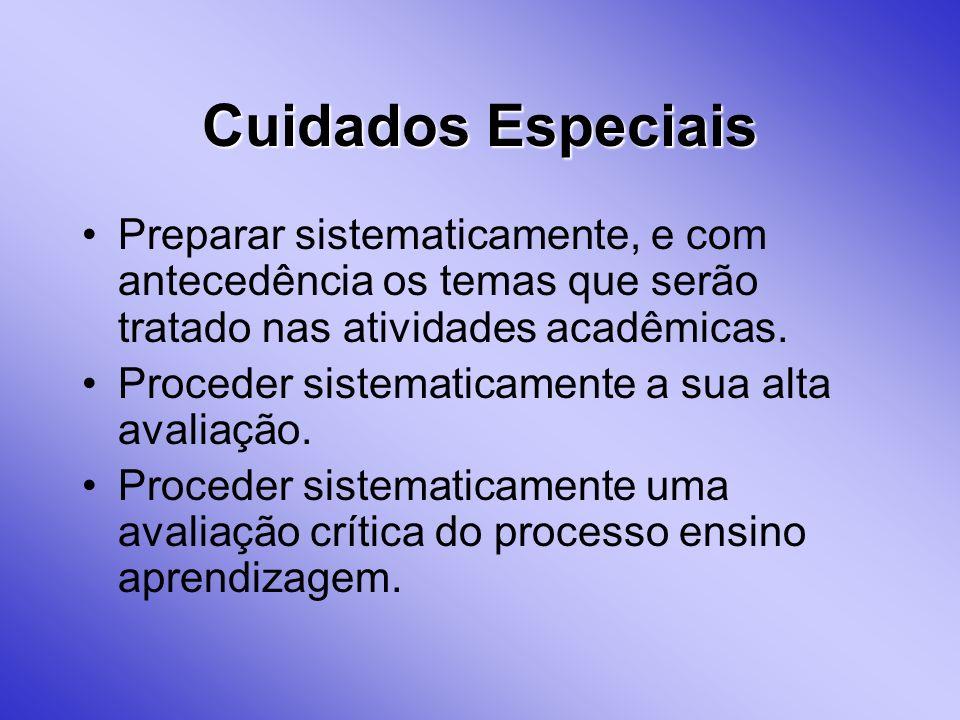 Cuidados EspeciaisPreparar sistematicamente, e com antecedência os temas que serão tratado nas atividades acadêmicas.