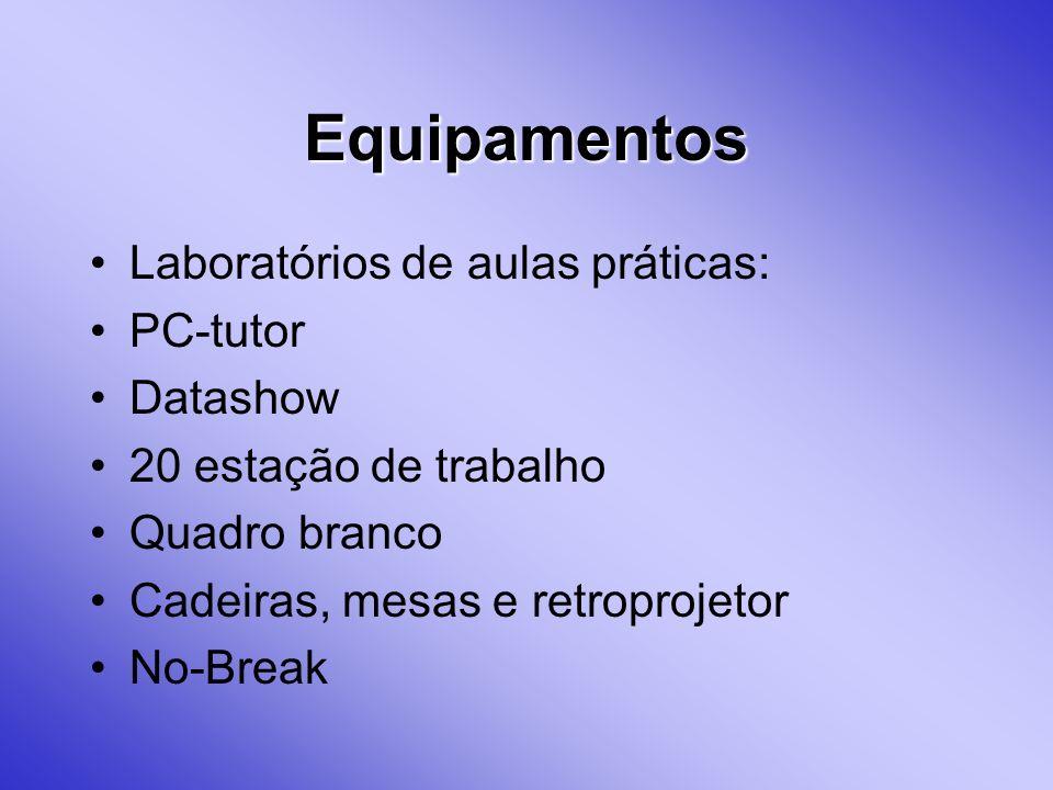 Equipamentos Laboratórios de aulas práticas: PC-tutor Datashow