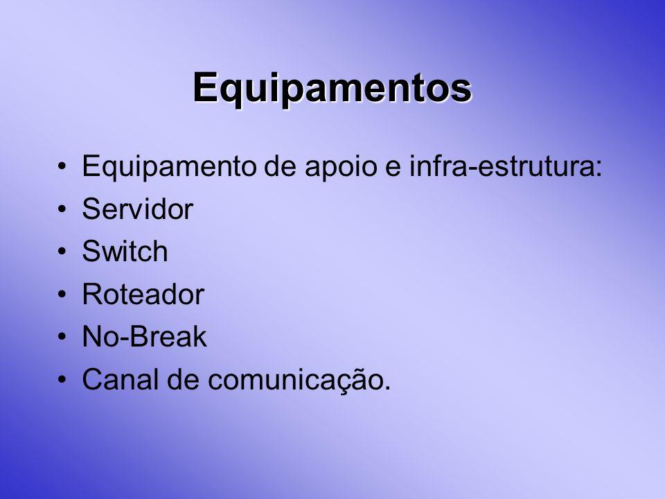 Equipamentos Equipamento de apoio e infra-estrutura: Servidor Switch