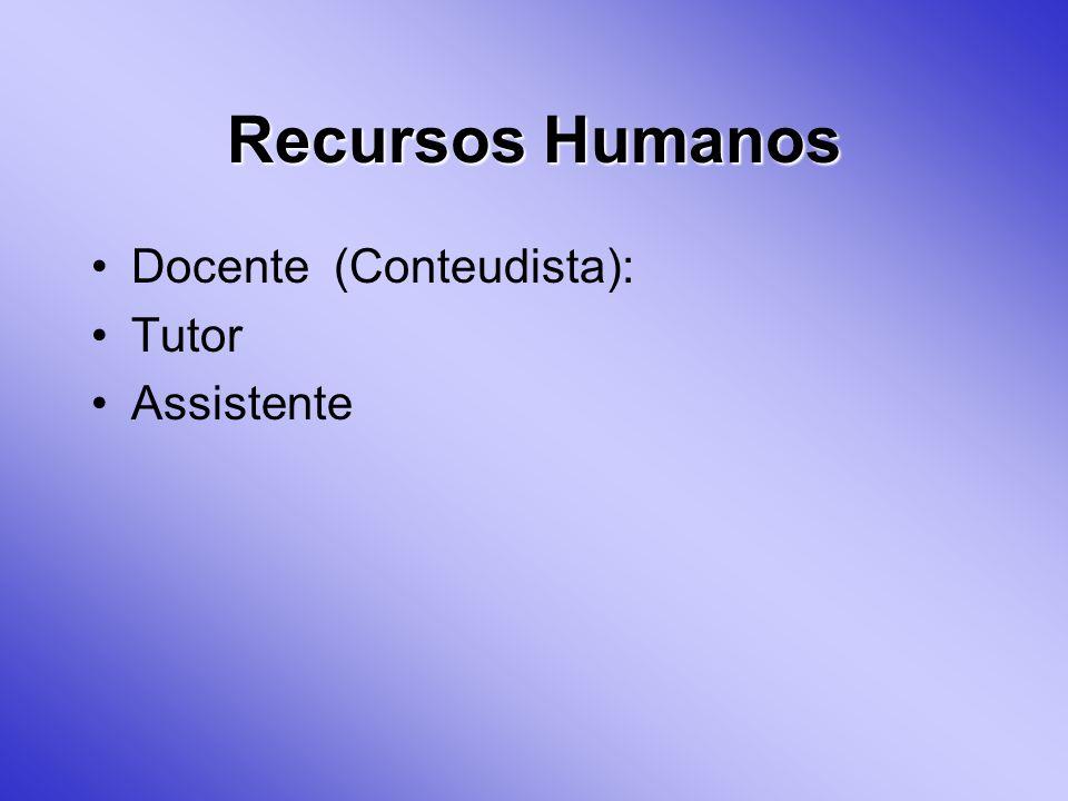 Recursos Humanos Docente (Conteudista): Tutor Assistente