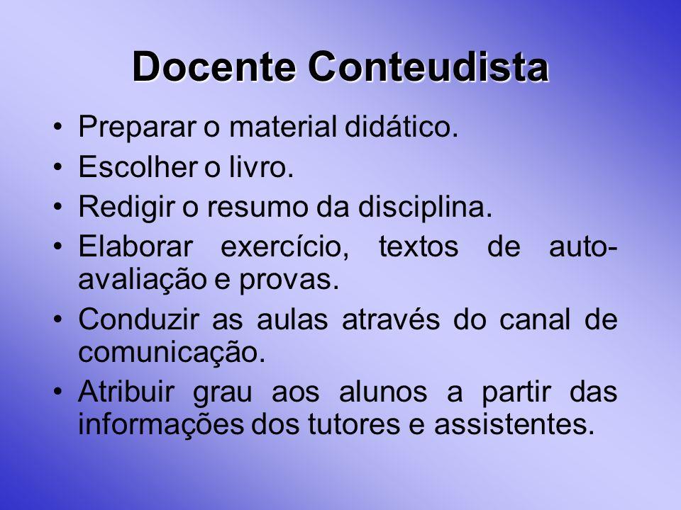 Docente Conteudista Preparar o material didático. Escolher o livro.