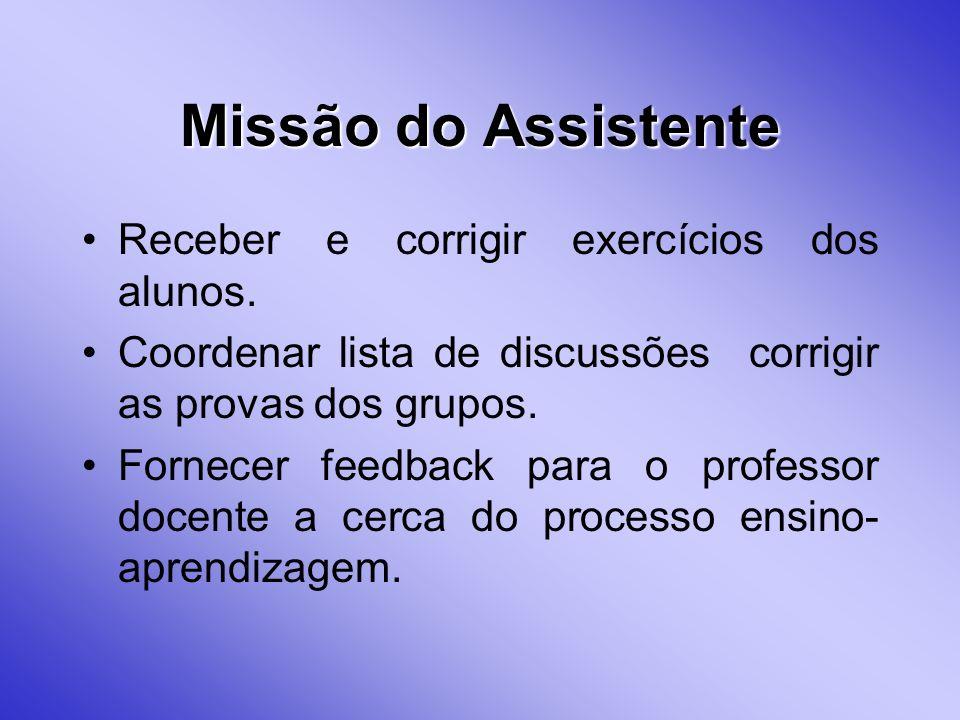 Missão do Assistente Receber e corrigir exercícios dos alunos.