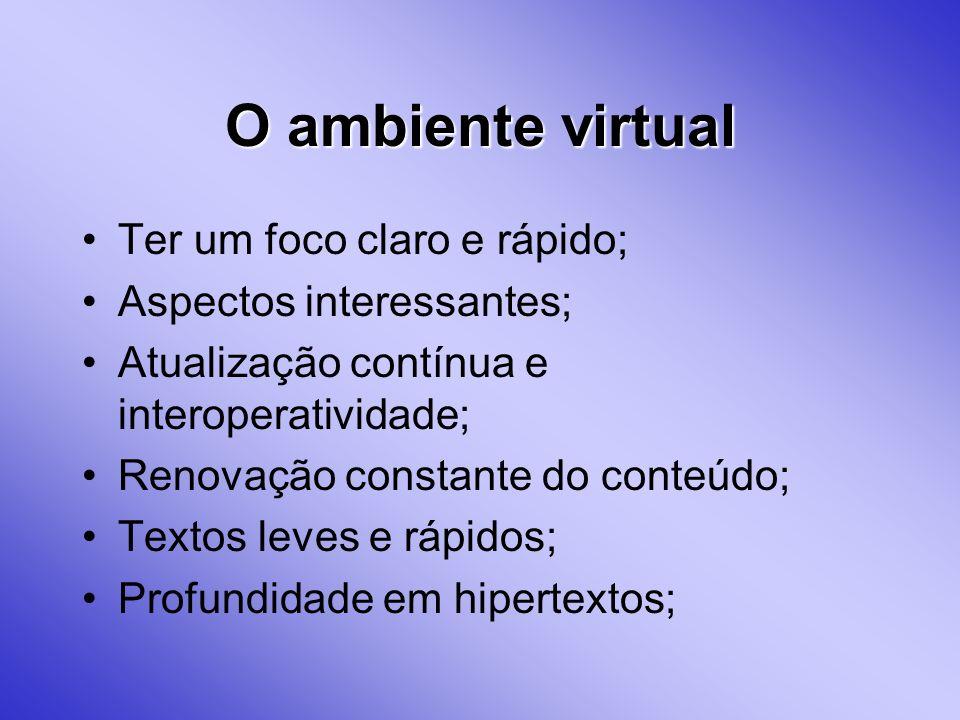 O ambiente virtual Ter um foco claro e rápido; Aspectos interessantes;