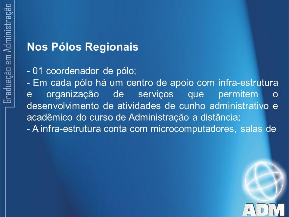 Nos Pólos Regionais - 01 coordenador de pólo;