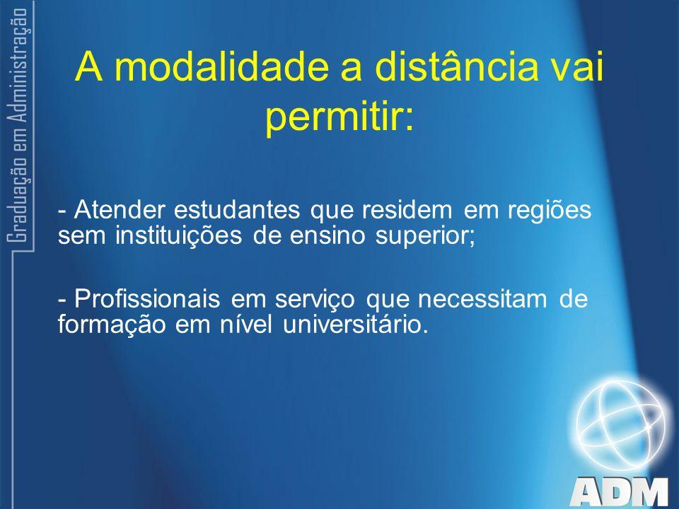 A modalidade a distância vai permitir: