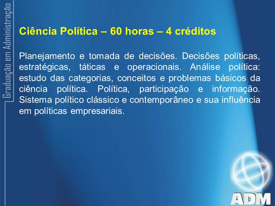 Ciência Política – 60 horas – 4 créditos