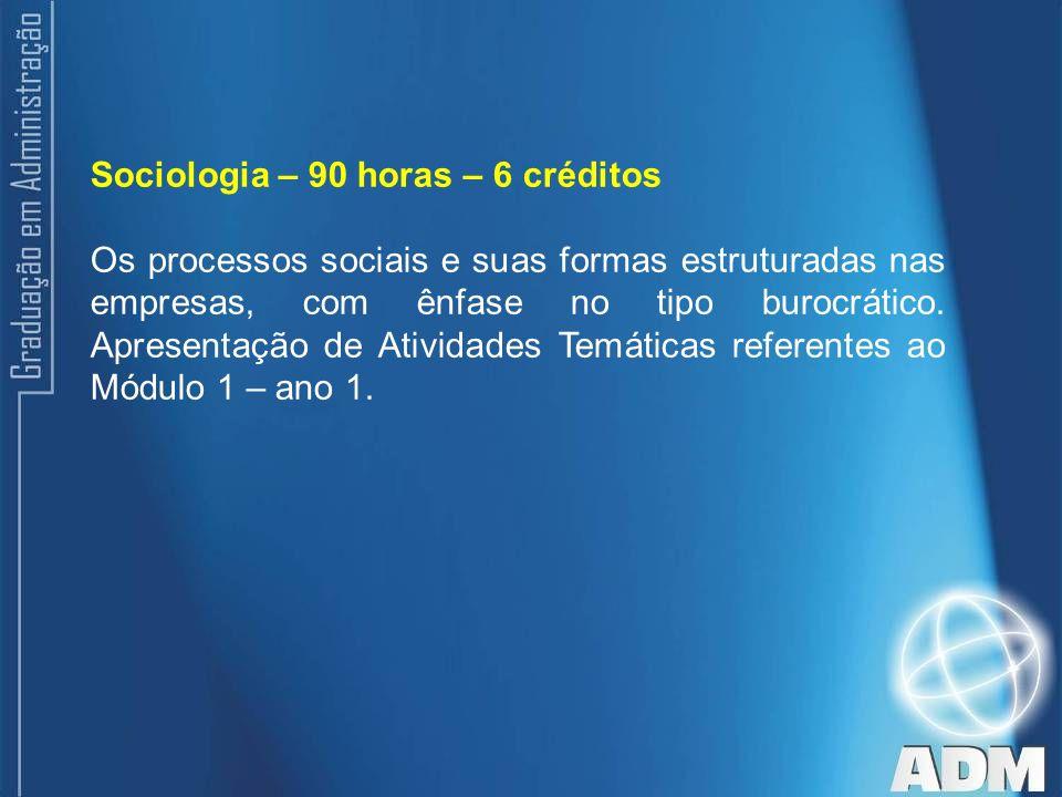 Sociologia – 90 horas – 6 créditos