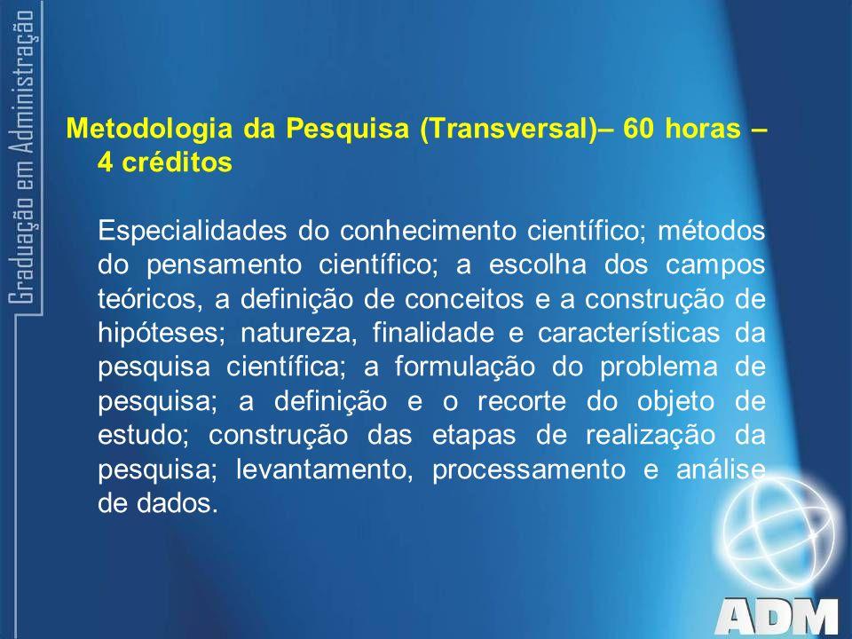 Metodologia da Pesquisa (Transversal)– 60 horas – 4 créditos