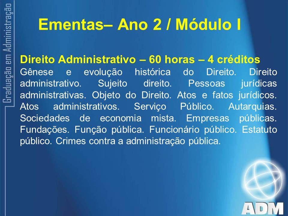 Ementas– Ano 2 / Módulo I Direito Administrativo – 60 horas – 4 créditos.