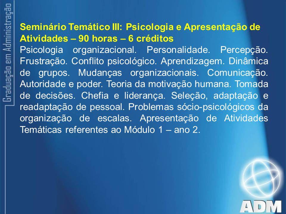 Seminário Temático III: Psicologia e Apresentação de Atividades – 90 horas – 6 créditos