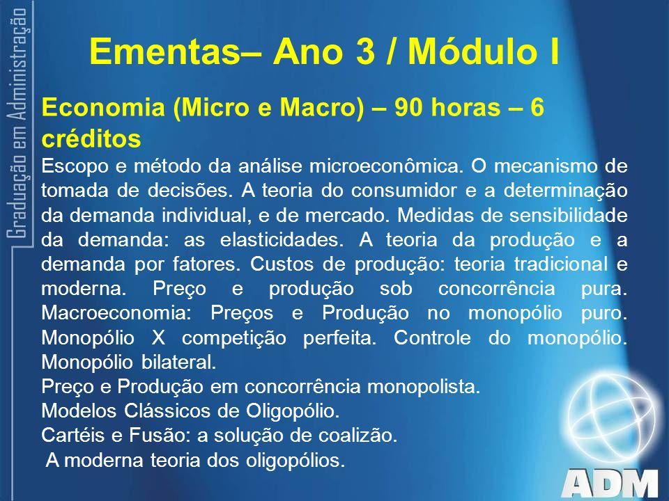 Ementas– Ano 3 / Módulo I Economia (Micro e Macro) – 90 horas – 6 créditos.