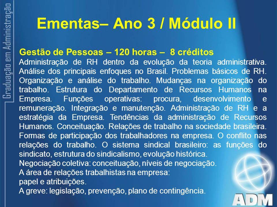 Ementas– Ano 3 / Módulo II