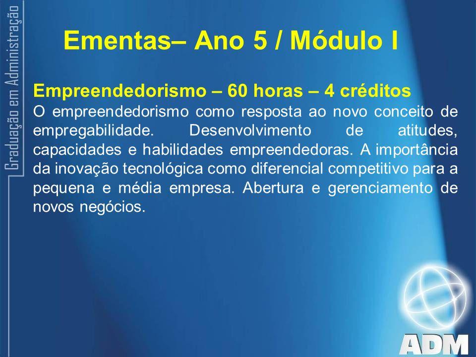 Ementas– Ano 5 / Módulo I Empreendedorismo – 60 horas – 4 créditos