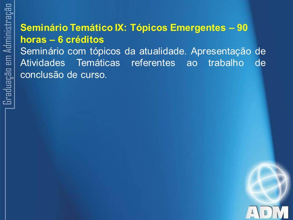 Seminário Temático IX: Tópicos Emergentes – 90 horas – 6 créditos