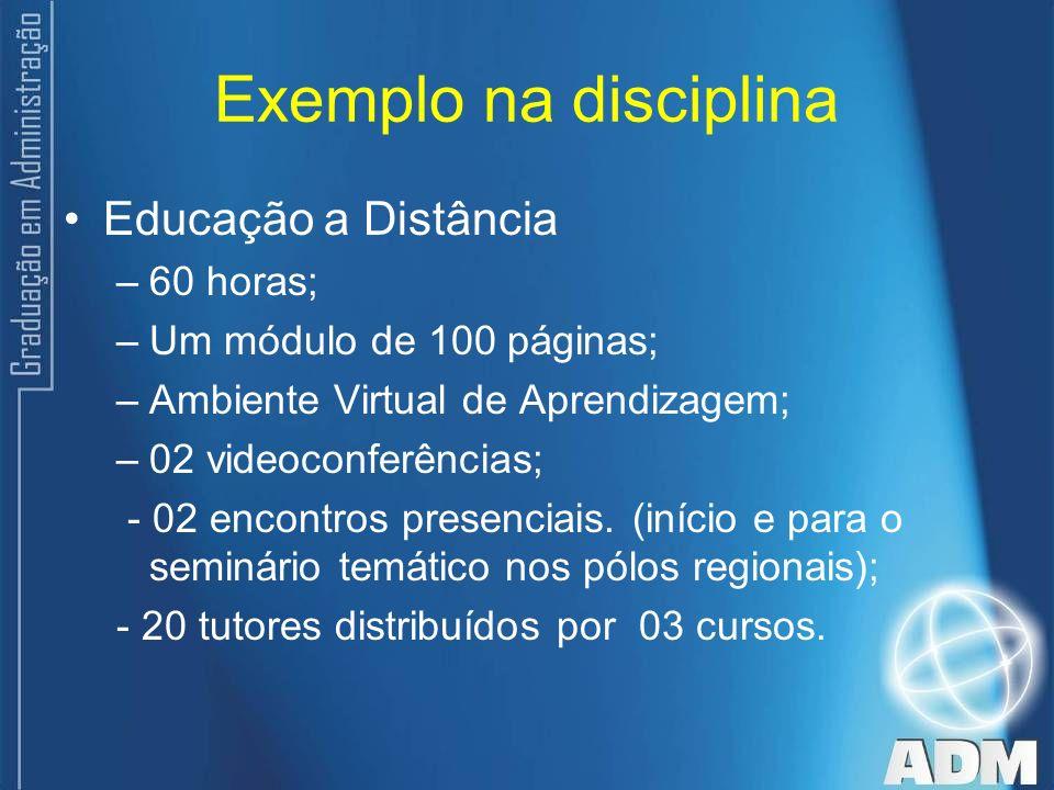 Exemplo na disciplina Educação a Distância 60 horas;