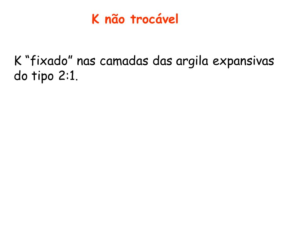 K não trocável K fixado nas camadas das argila expansivas do tipo 2:1.