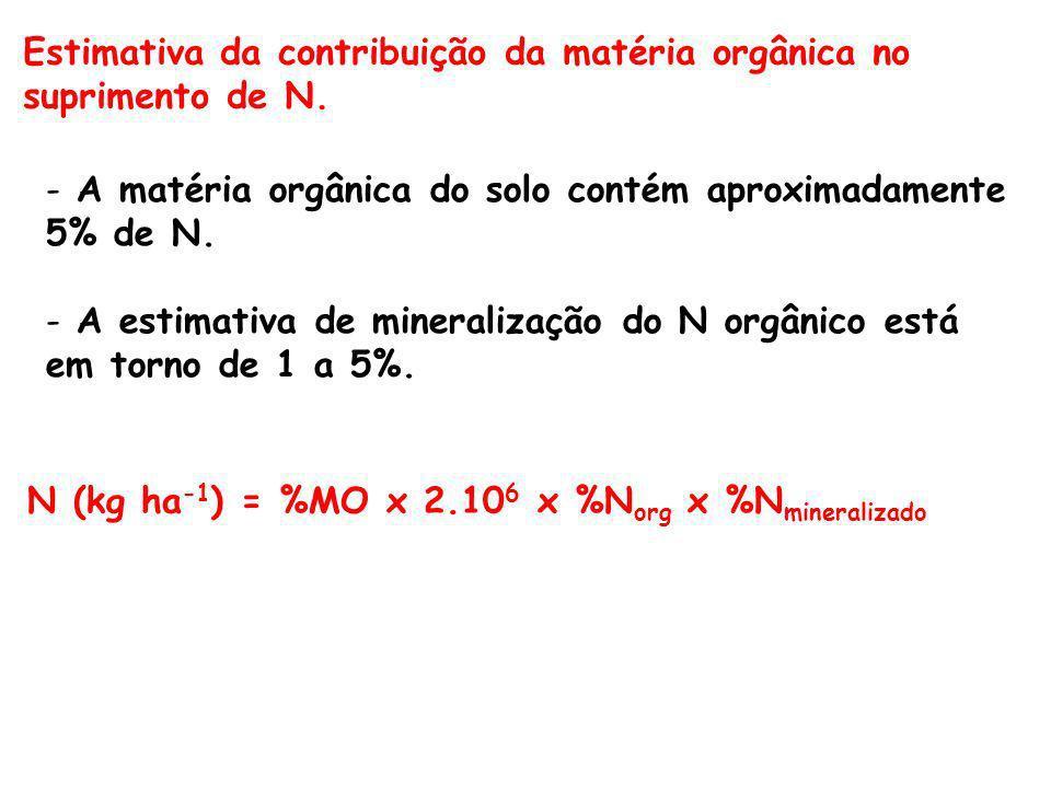 Estimativa da contribuição da matéria orgânica no suprimento de N.