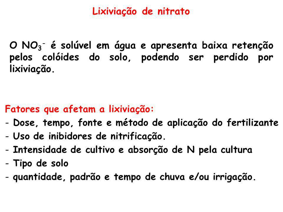 Lixiviação de nitrato O NO3- é solúvel em água e apresenta baixa retenção pelos colóides do solo, podendo ser perdido por lixiviação.
