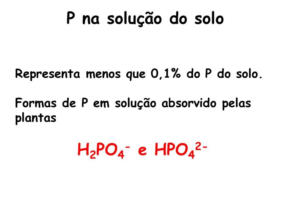 P na solução do solo H2PO4- e HPO42-