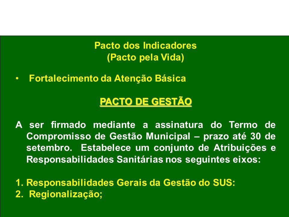 Pacto dos Indicadores (Pacto pela Vida) Fortalecimento da Atenção Básica. PACTO DE GESTÃO.