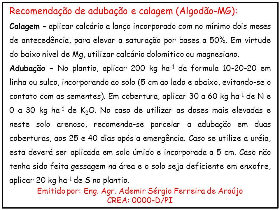 Emitido por: Eng. Agr. Ademir Sérgio Ferreira de Araújo