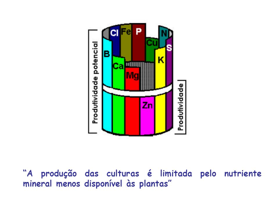 A produção das culturas é limitada pelo nutriente mineral menos disponível às plantas