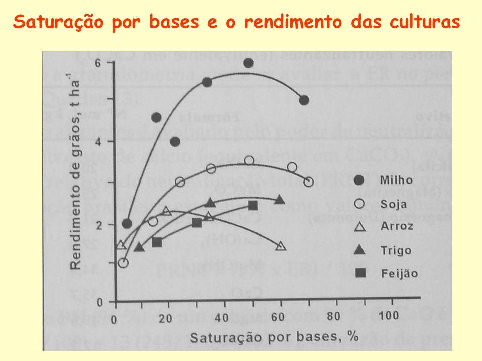 Saturação por bases e o rendimento das culturas