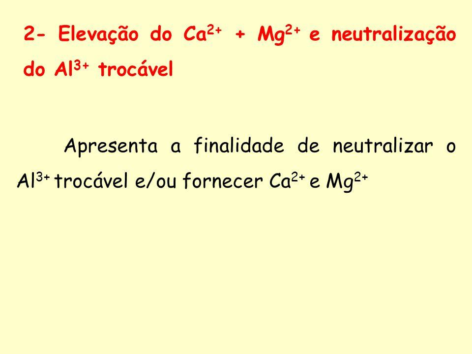 2- Elevação do Ca2+ + Mg2+ e neutralização do Al3+ trocável