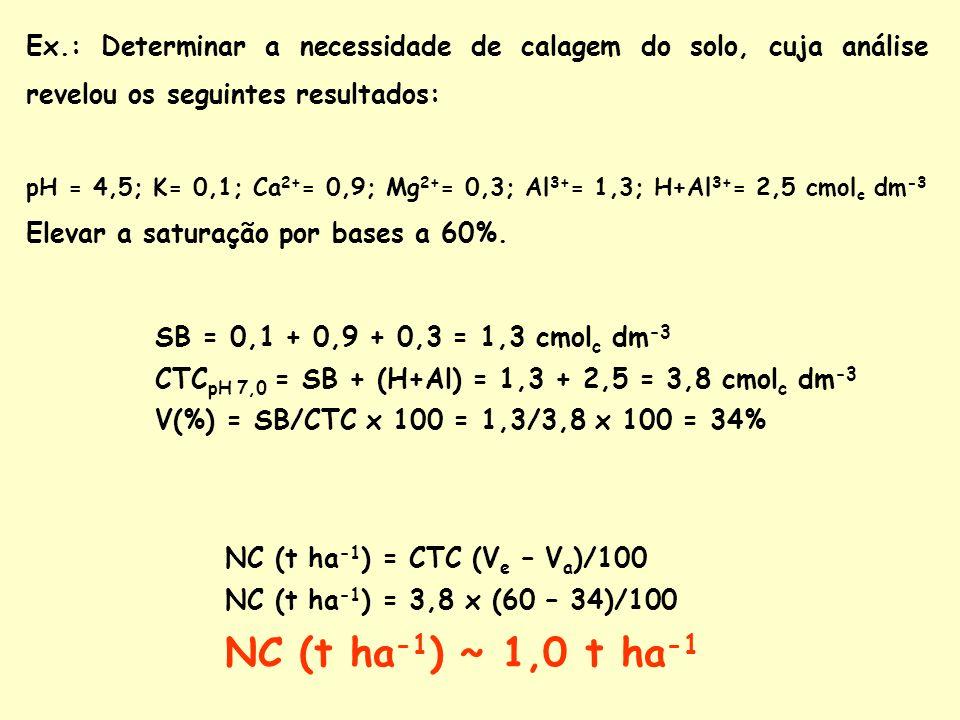Ex.: Determinar a necessidade de calagem do solo, cuja análise revelou os seguintes resultados: