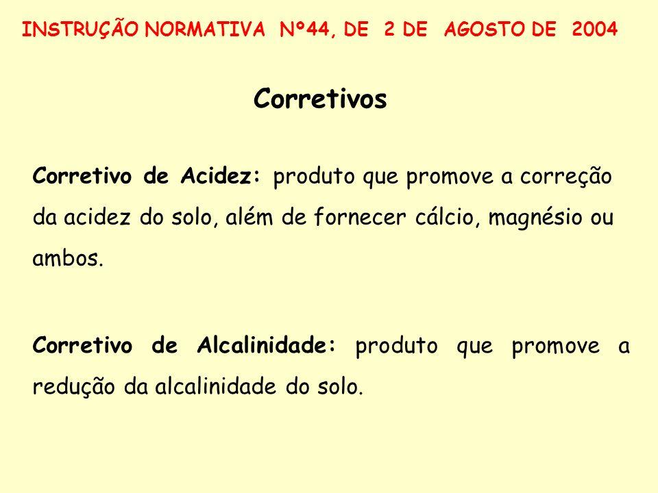 Corretivos Corretivo de Acidez: produto que promove a correção