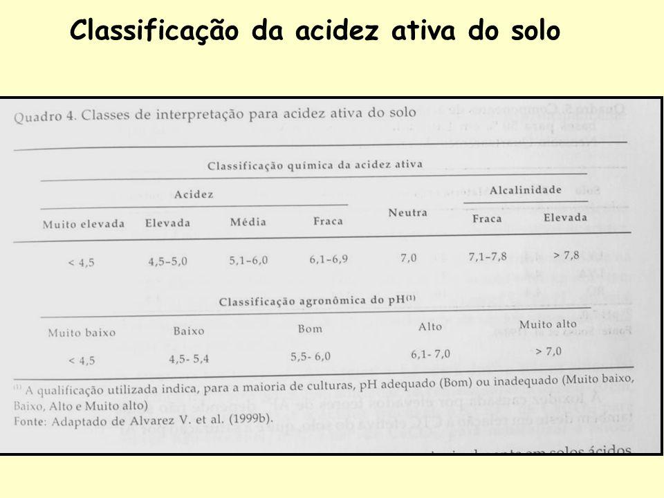 Classificação da acidez ativa do solo