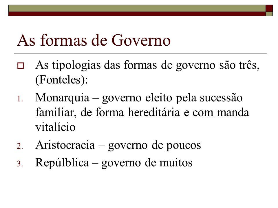 As formas de Governo As tipologias das formas de governo são três, (Fonteles):