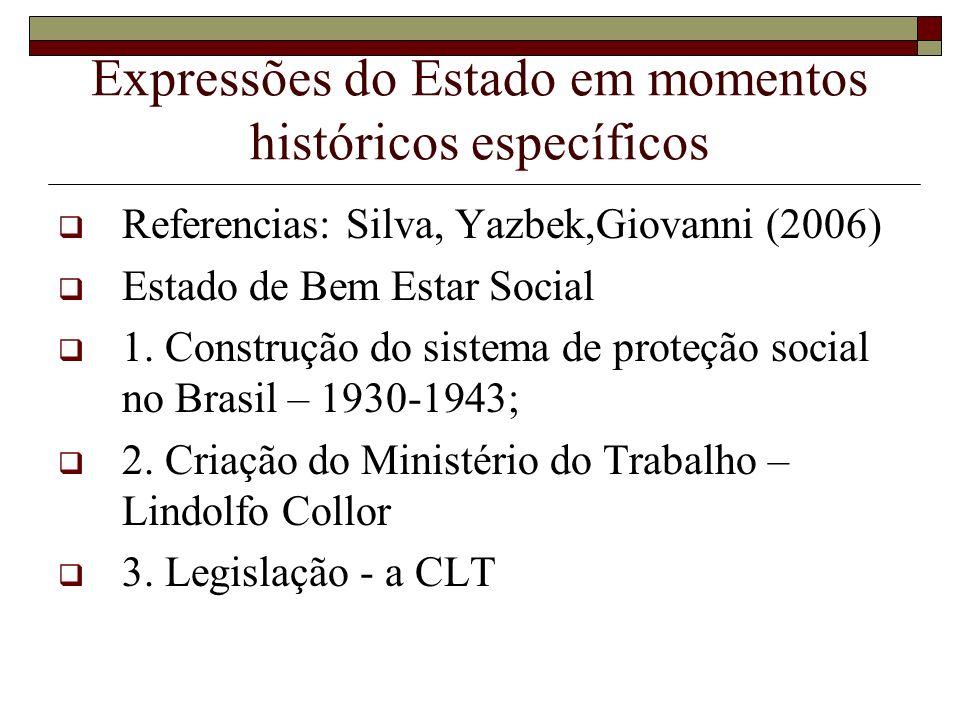 Expressões do Estado em momentos históricos específicos
