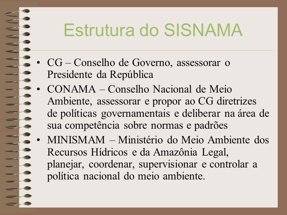 Estrutura do SISNAMA CG – Conselho de Governo, assessorar o Presidente da República.