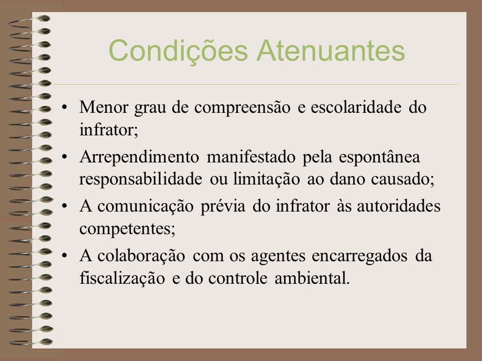 Condições Atenuantes Menor grau de compreensão e escolaridade do infrator;