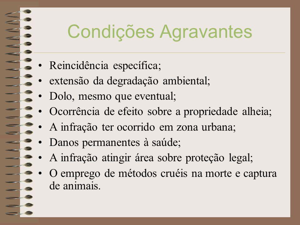 Condições Agravantes Reincidência específica;
