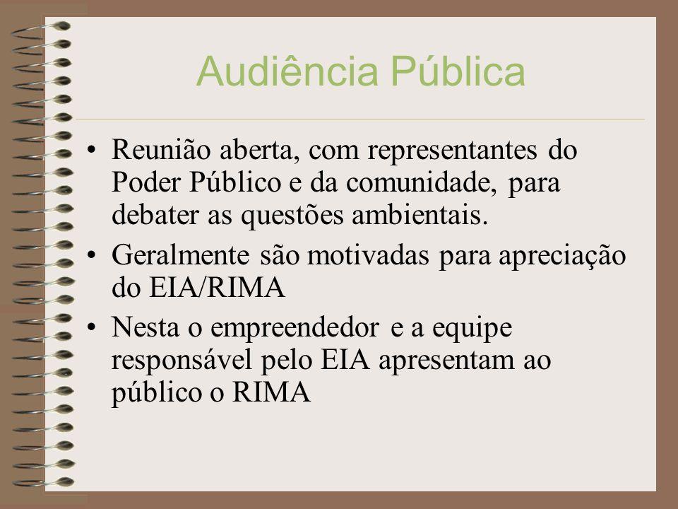 Audiência PúblicaReunião aberta, com representantes do Poder Público e da comunidade, para debater as questões ambientais.