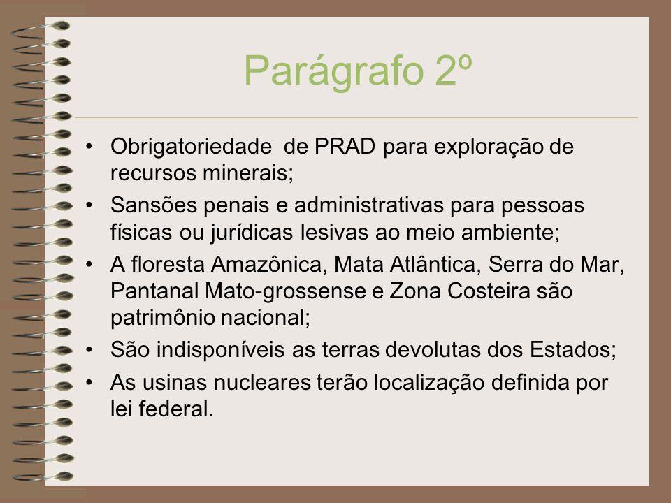 Parágrafo 2ºObrigatoriedade de PRAD para exploração de recursos minerais;