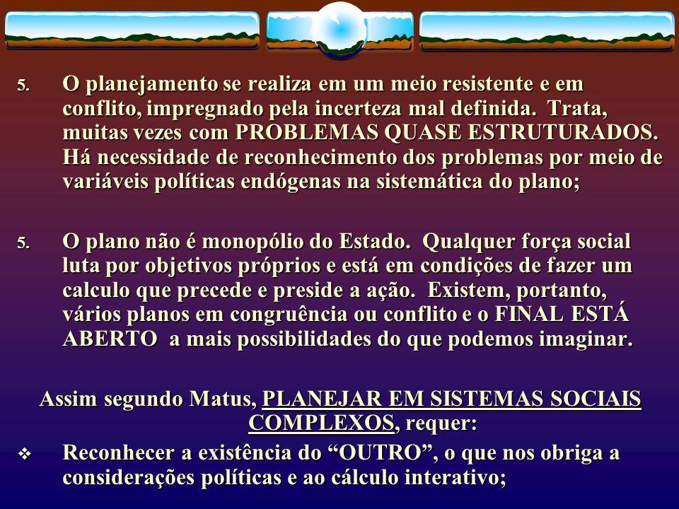 Assim segundo Matus, PLANEJAR EM SISTEMAS SOCIAIS COMPLEXOS, requer:
