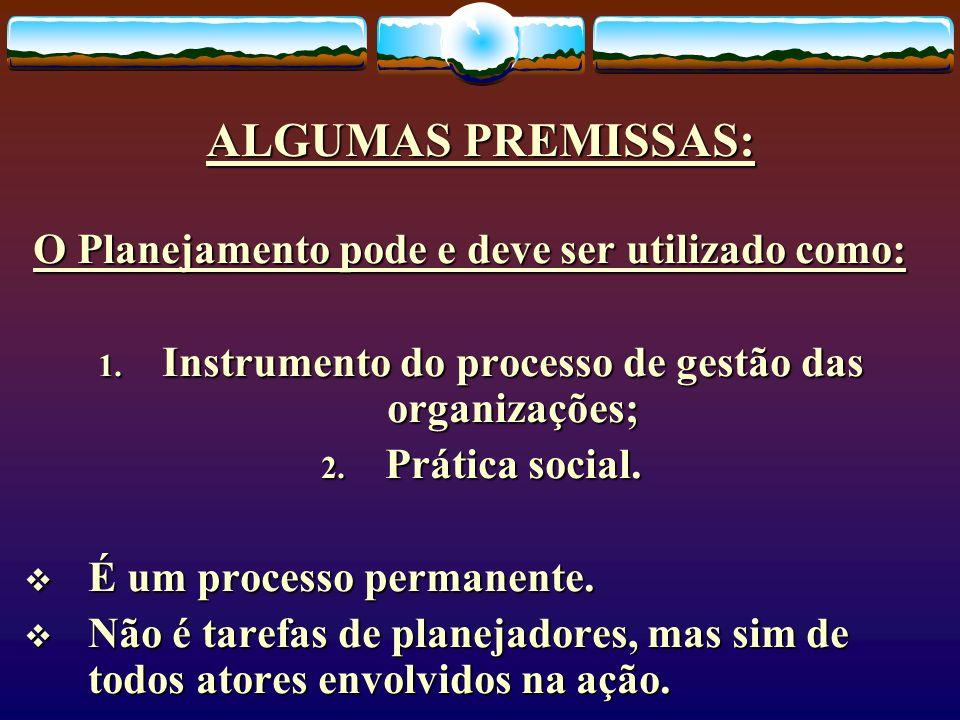 Instrumento do processo de gestão das organizações;