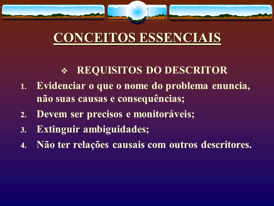 REQUISITOS DO DESCRITOR